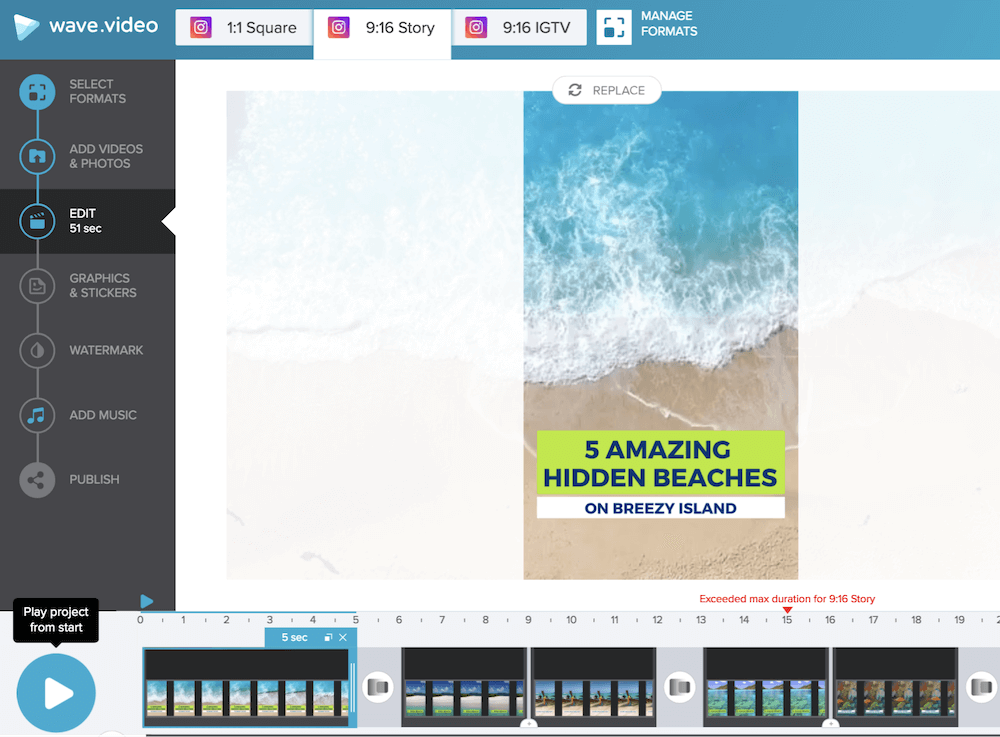 How to edit videos for Instagram in Wave.video