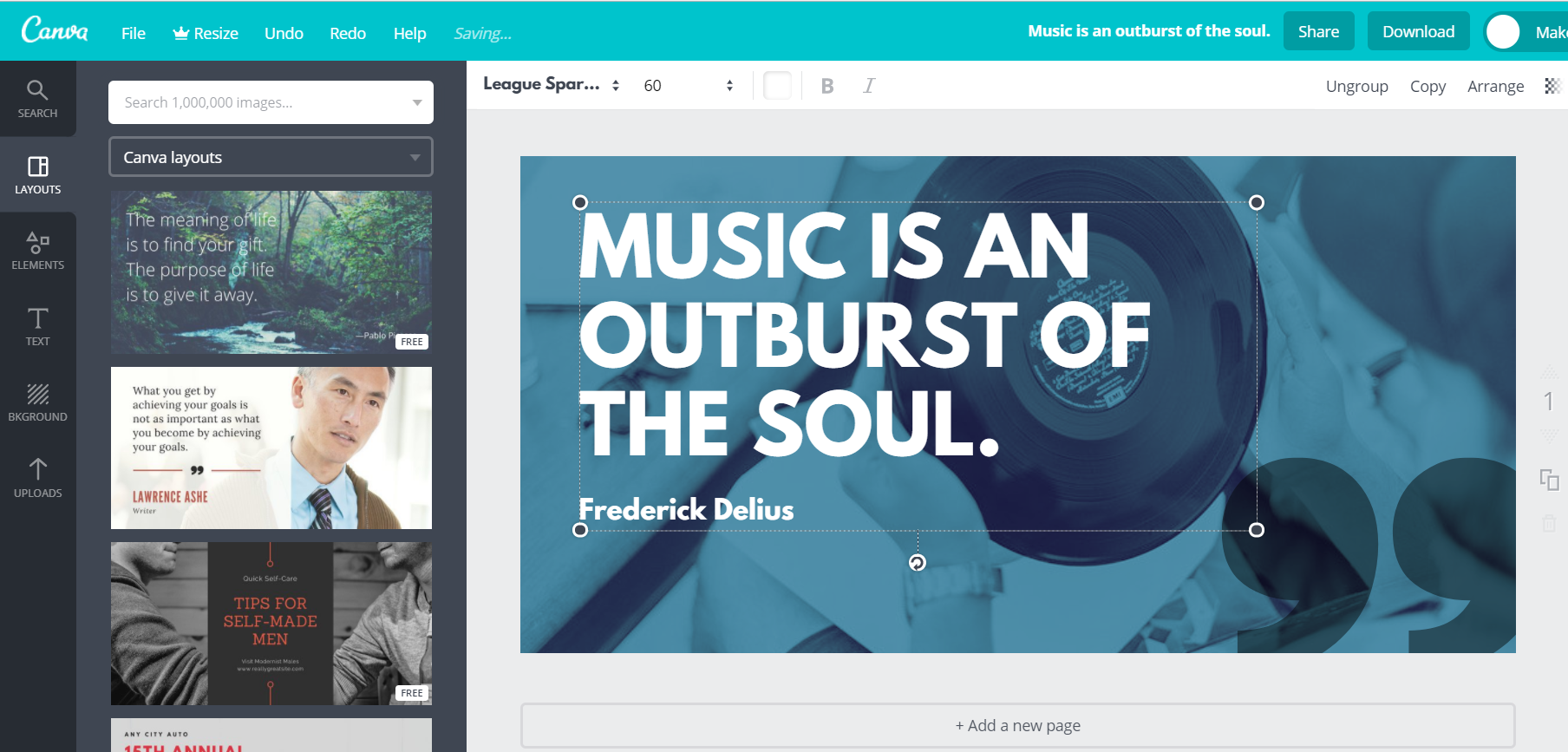 Quote image creation in Canva