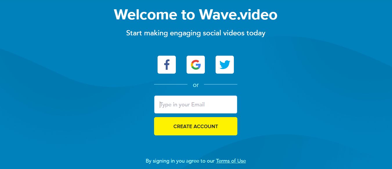 wave.video landing page