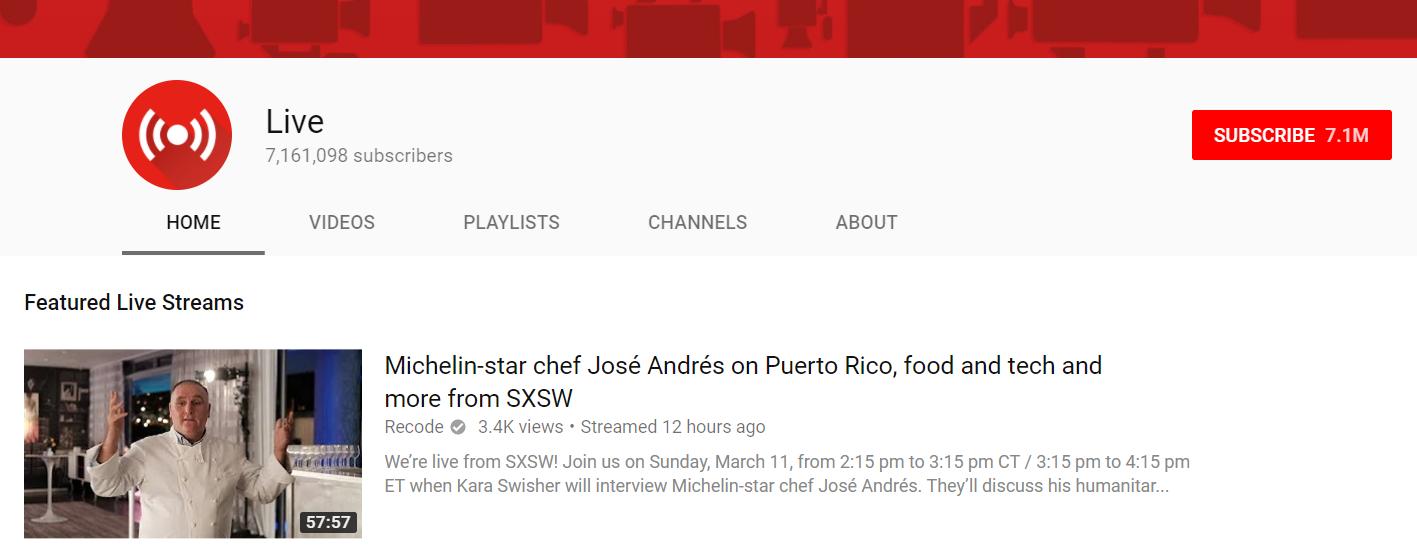 Youtube Live screenshot