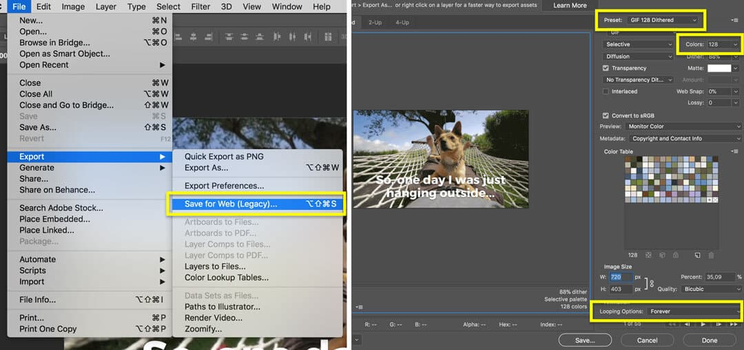 Make a GIF from video in Photoshop