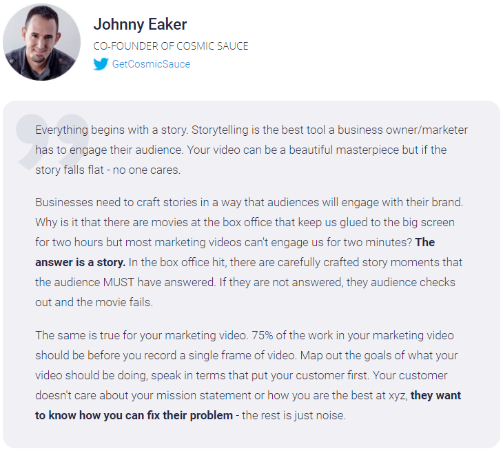 Video Marketing expert about storytelling