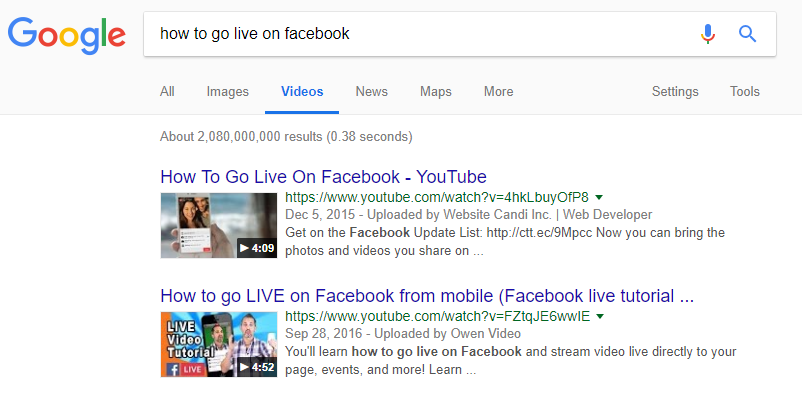 Videos in Google on how to go live on Facebook