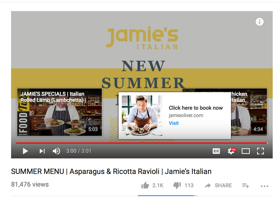 Jamie Oliver YouTube end screen