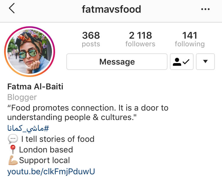 Instagram Bio for Business Example: Fatma vs Food