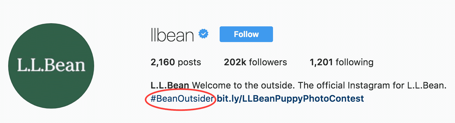 Instagram bio for business example: L.L. Bean