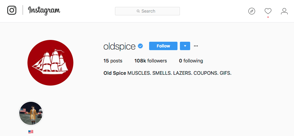 Old Spice Instagram for Business Short Bio Example