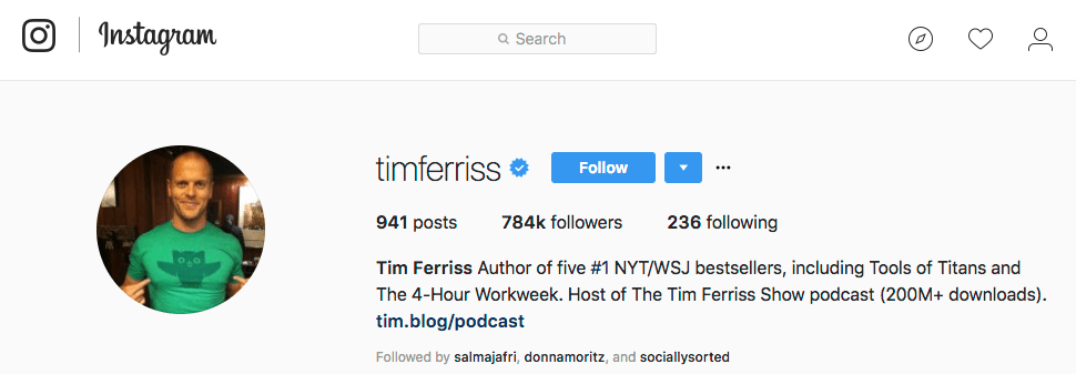 Tim Ferriss Instagram Bio for Business Example