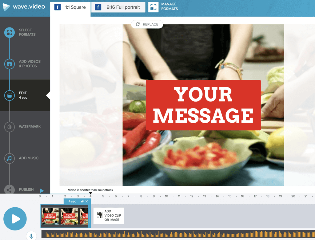 Create a Facebook video ad in Wave.video