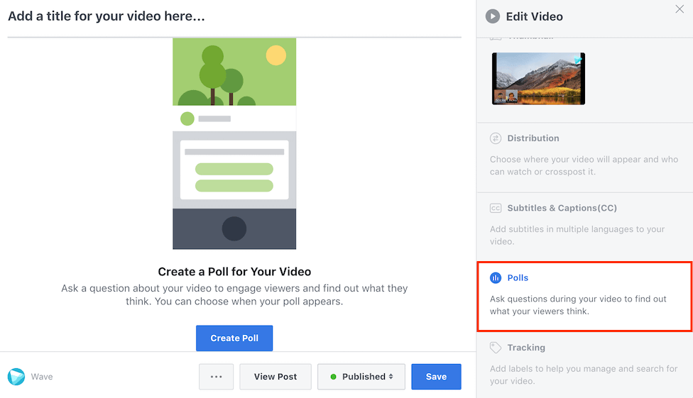 How to add a Facebook video poll