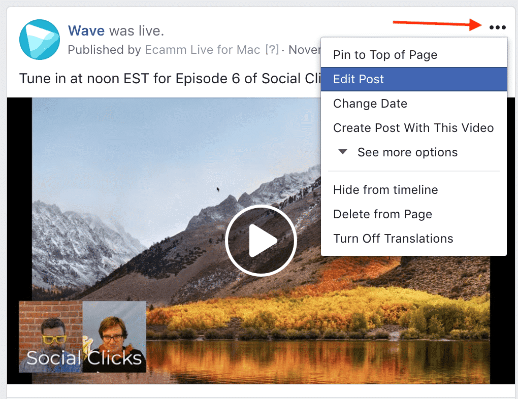 Facebook video polls: edit post