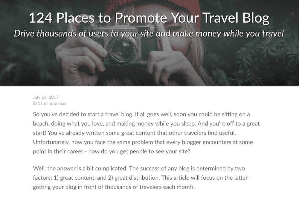 124 places to promote travel blog