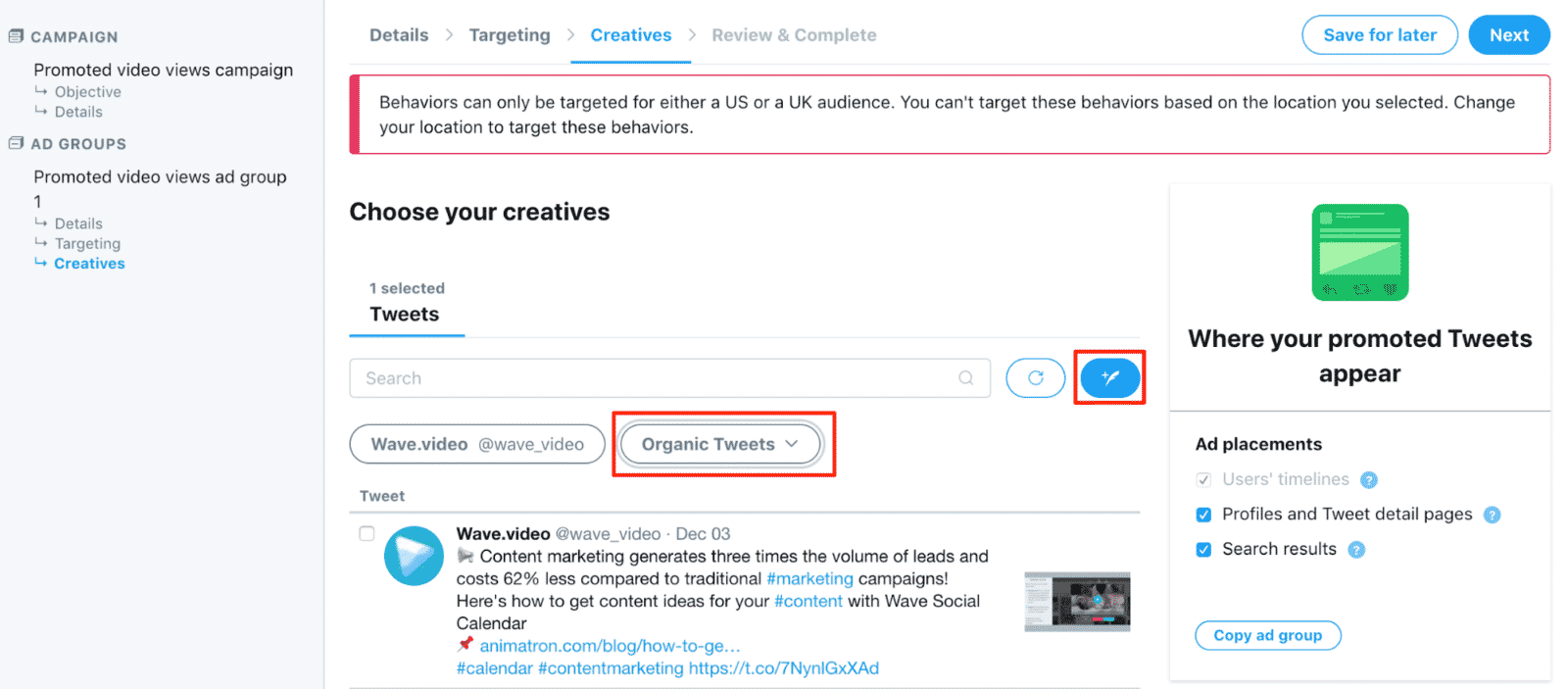 Twitter ad creatives