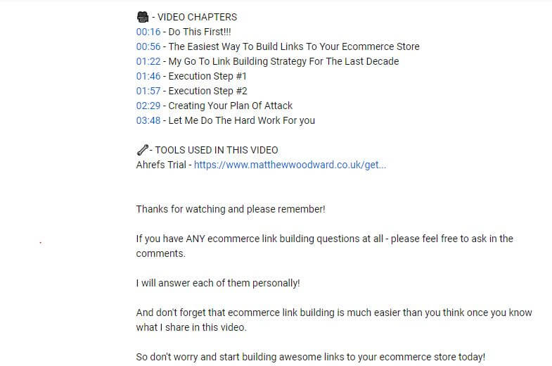 YouTube video description for affiliate marketing
