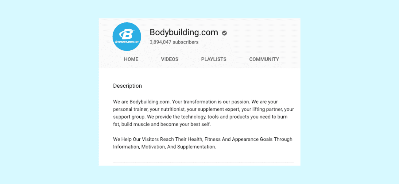 Bodybuilding.com description de la chaîne YouTube