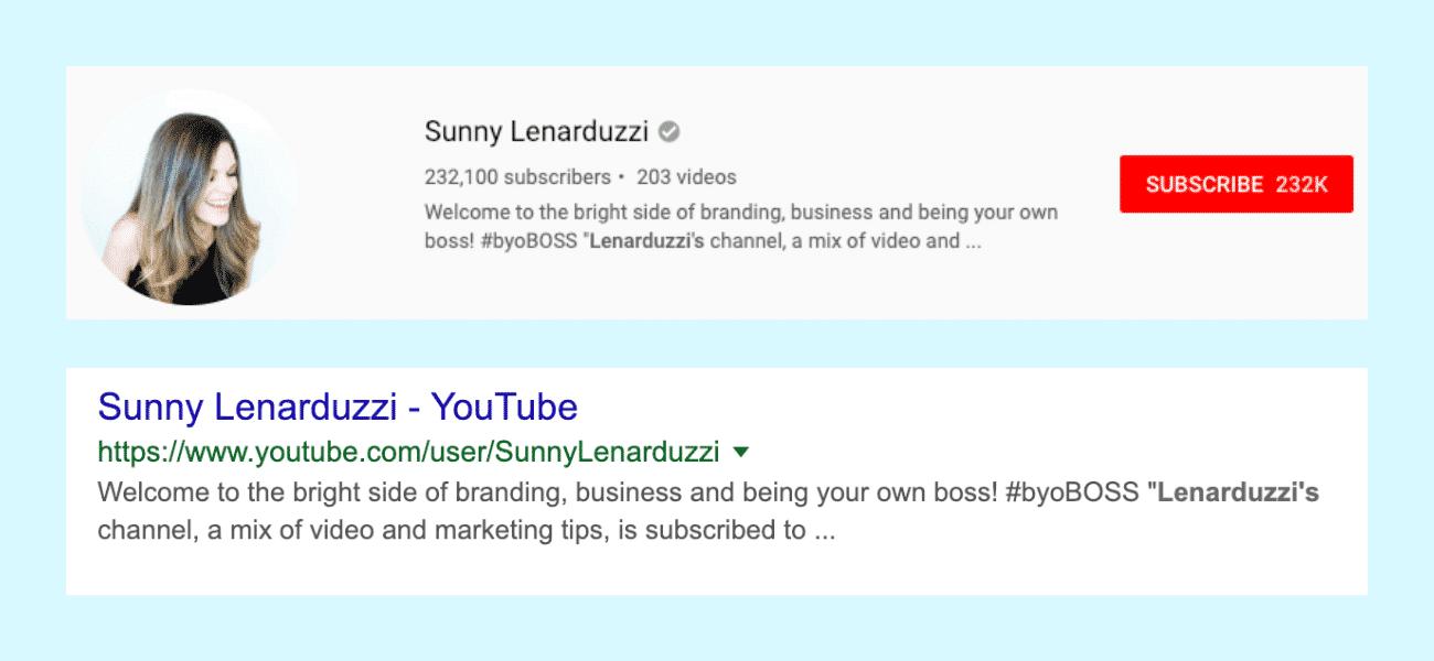 Description de la chaîne YouTube du Sunny Lenarduzzi