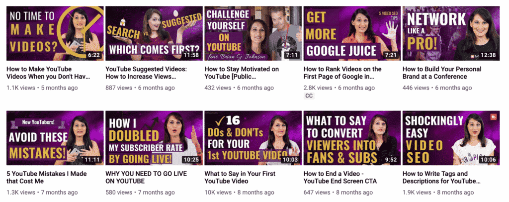 Consistent video thumbnails example