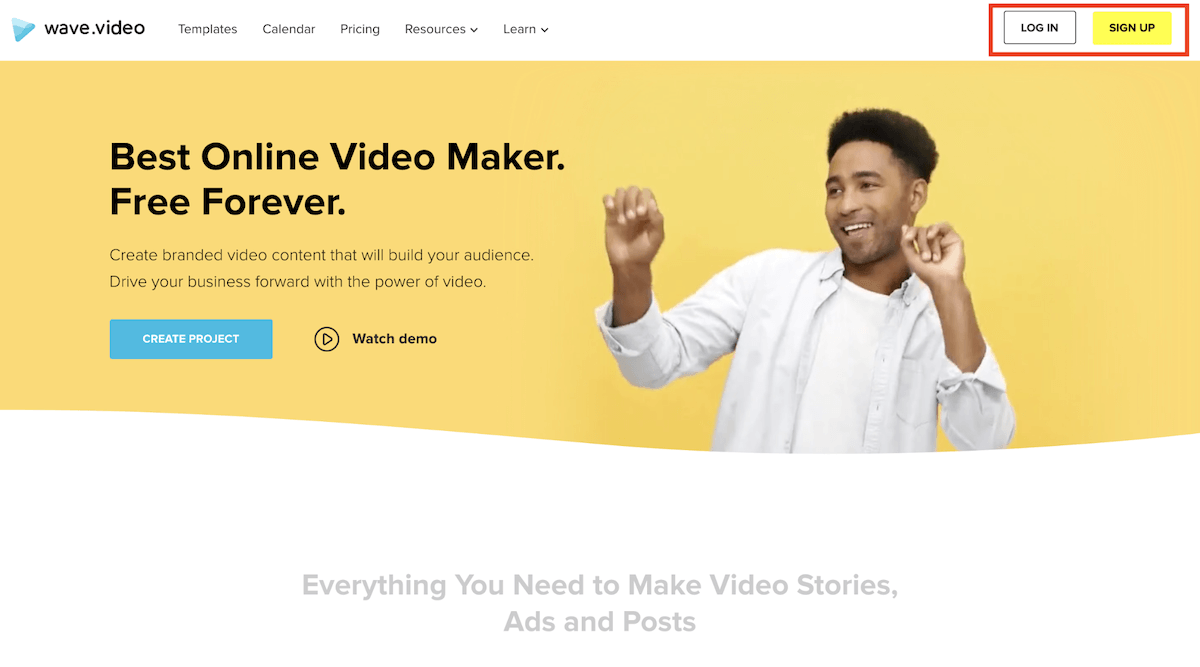 Wave.video signup