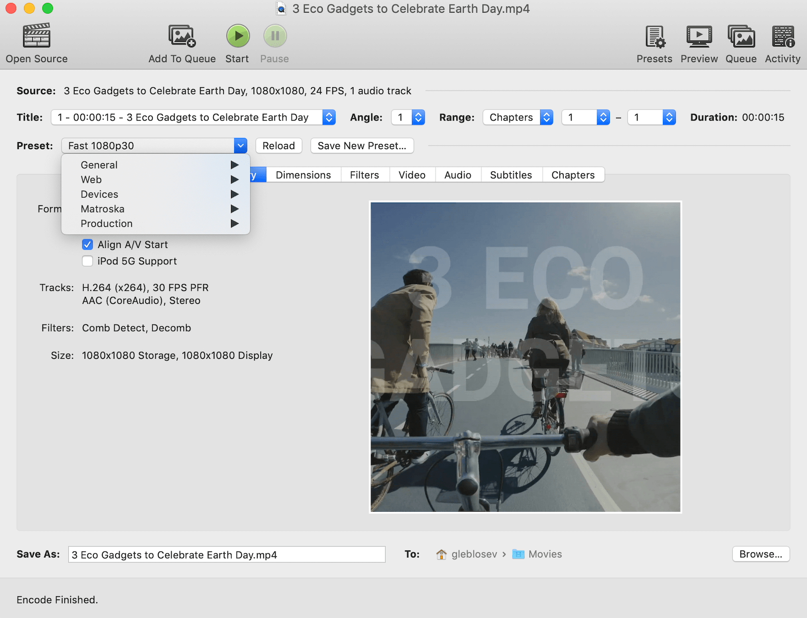 How to compress a video with Handbrake