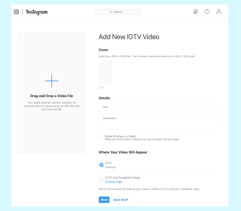 How to post a video to IGTV from desktop: choose a cover