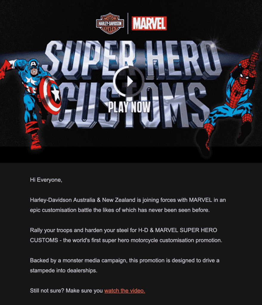 Marvel and Harley email_animated button sample