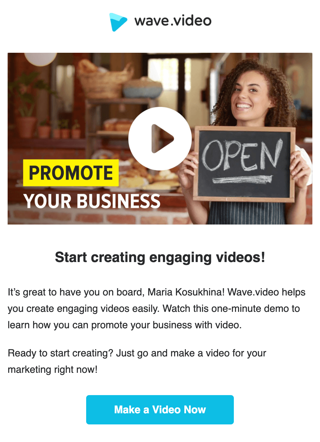 Static image with play button in email