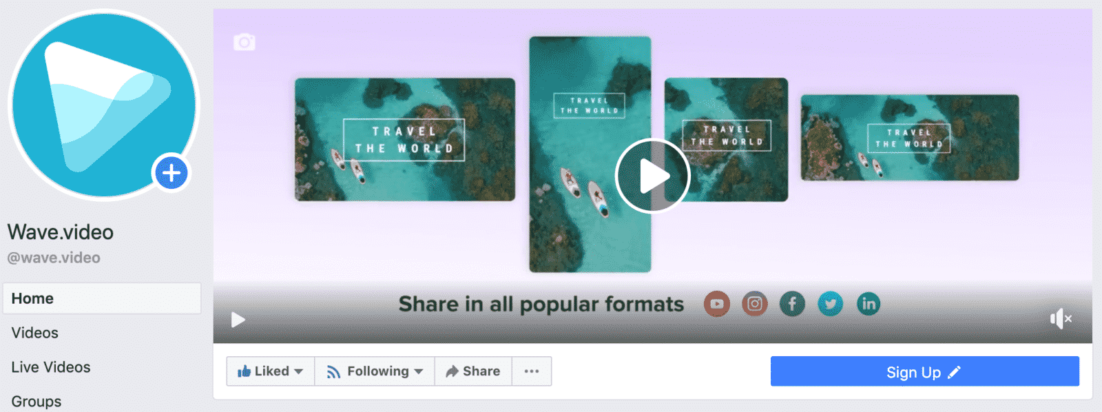 Facebook cover video Wave.video