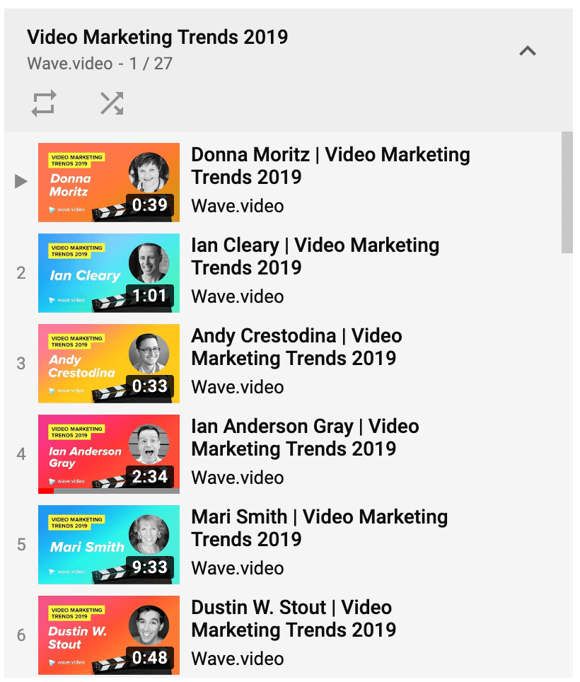 Video marketing trends playlist on YouTube