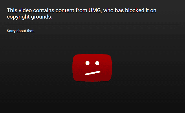 YouTube video is blocked on copyright grounds