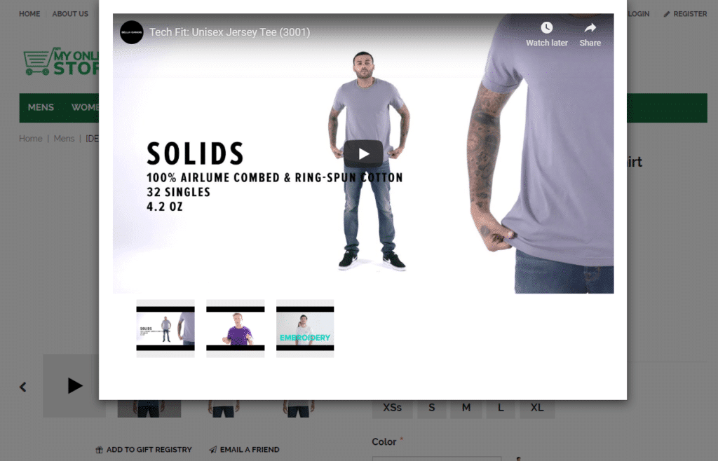 Ecommerce product videos - website builder