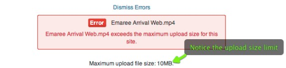 Embed video on website - Upload size limit