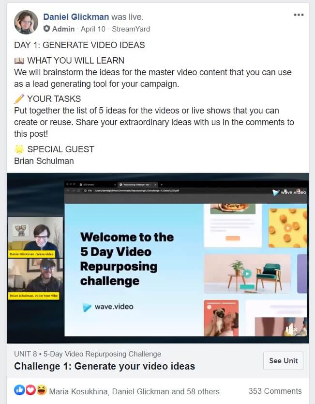 How to launch a Facebook challenge - post example