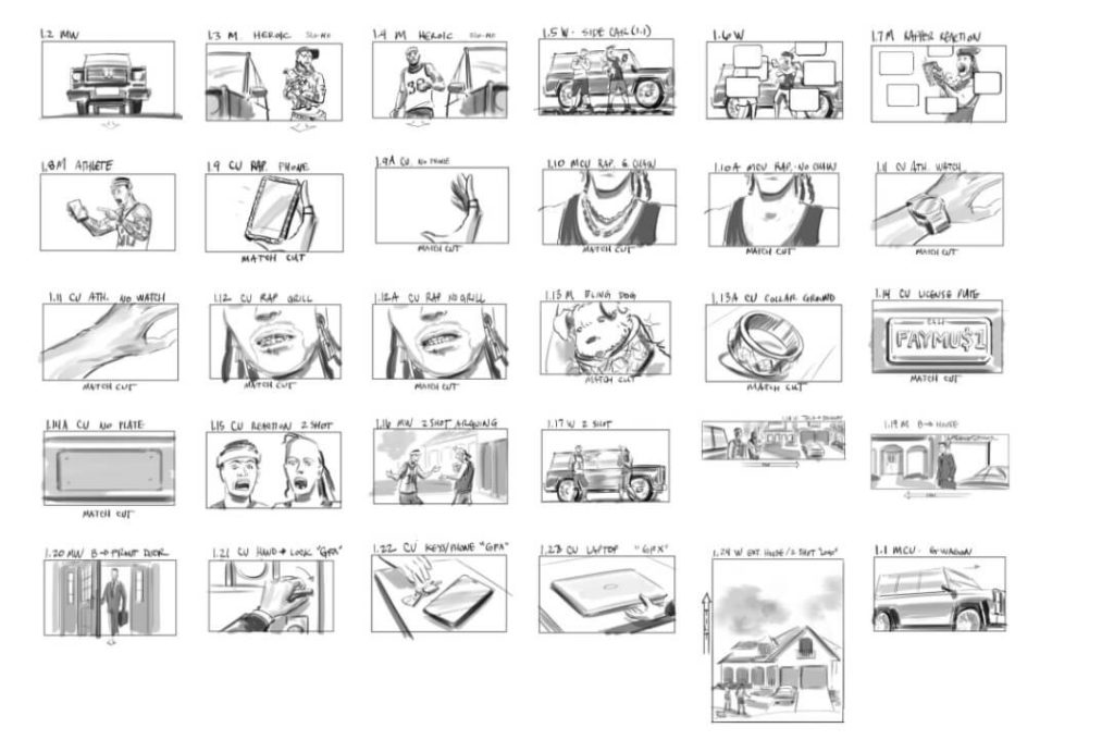 Rough sketched storyboard