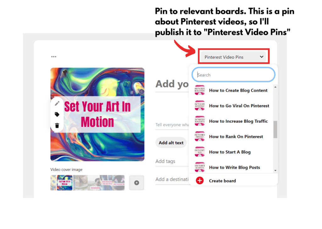Pinterest video boards