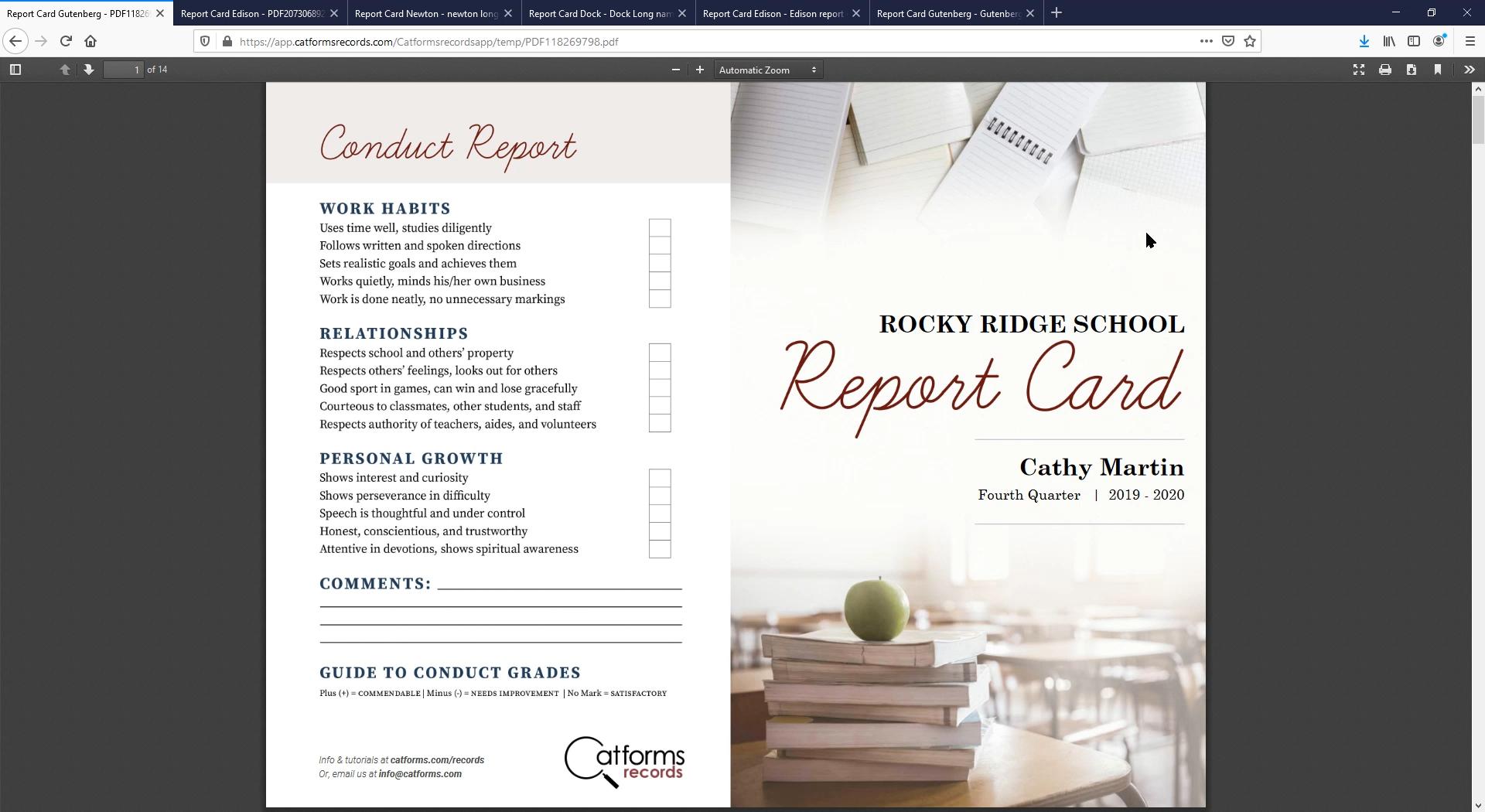 Report Card Info